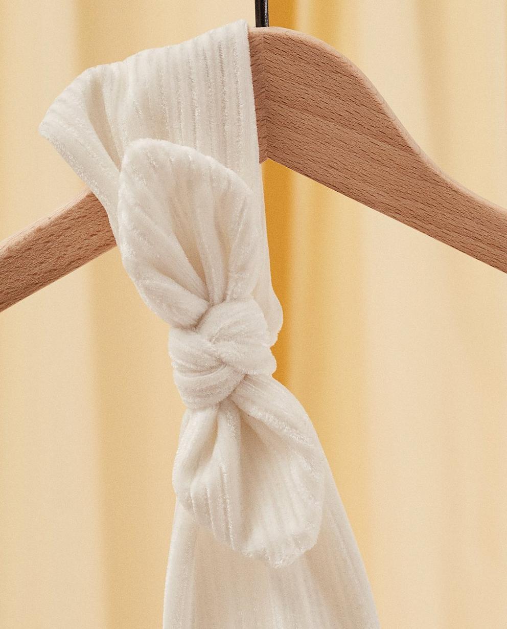 Strickware - Sand - Samthaarband mit Schleife